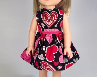14.5 inch Doll Clothes / Doll Dress / Valentines / Hearts and Arrows