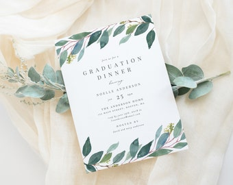 Editable Template - Instant Download Leafy Graduation Party Invitation