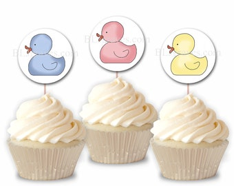 Baby Shower Duck Cupcake Toppers, Party Food Picks, Set of 12 Cupcake Toppers CT008