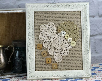 Crochet Heart in White Distressed Vintage Frame, Assemblage Wall Art, Word Background, Scrabble Love, Ready to ship