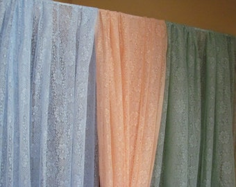 Daisies Peach, Green, or Blue  Lace Panels