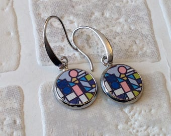Multicoloured pattern | wood cabochon earrings | Geometric print earrings | Made in the UK | ready to ship