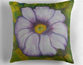 """Decorative Square Throw Pillow Cushion Cover Petunia Art by Karen Storay. Made in the USA. Three Sizes 16"""" x 16"""" 18"""" x 18"""" and 20"""" x 20"""""""