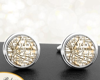 Map Cufflinks Columbia SC Cuff Links State of South Carolina for Groomsmen Wedding Party Fathers Dads Men