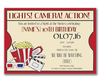 Customizable Movie Ticket Party Invitation [Digital File ONLY]