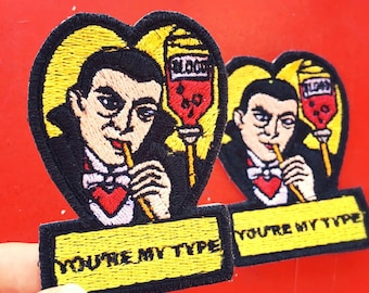 Vintage Monster Valentine Dracula Iron-on Embroidered patch