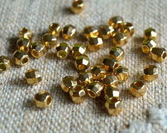 48pcs Gold Finished Brass Faceted Round Bead 2.5mm