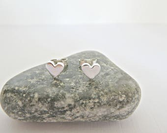 Tiny heart studs, Heart stud earrings, Silver heart studs, Fine silver stud earrings, Tiny silver earrings, Small heart studs, Mothers Day