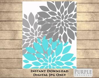 "INSTANT DOWNLOAD Aqua Blue Gray Flower Bursts Botanical Printable Art 8"" x 10"" Digital Fine Art Modern Wall Art Home Decor 65"