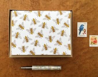 Honey Bees, Boxed Set of 8 Letterpress Cards, Blank Inside
