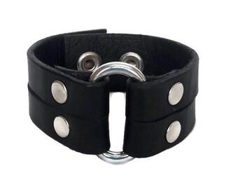 Oval ring leather bracelet Black leather wristband Natural leather cuff bracelet  Armlet leather wrist cuff Arm jewelry gift fot boyfriend
