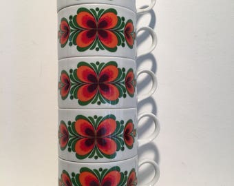Mitterteich Bavaria - super cute retro floral tea cups from the 60s or 70s