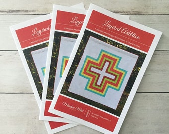 Layered Additional - printed quilt pattern - a modern plus sign pattern - lap sized