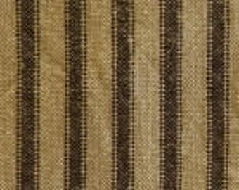 Vintage Ticking | Homespun | Primitive Fabric | Country Fabric | Black & Tan