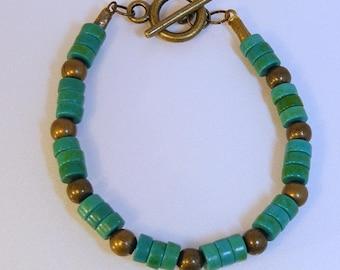 Banded Antique Brass Turquoise Bracelet