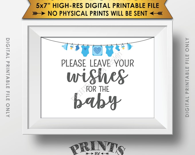 """Wishes for Baby Sign, Please Leave your Wishes for the Baby Shower Sign, Baby Wishes Shower Decoration, 5x7"""" Printable Instant Download Sign"""