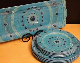 "9 pc Set Il Mulino New York Melamine Plates/Platter, 4) 10.5"" Dinner Plates, 4) 8.25"" Salad Dessert Plates, 1) 18"" Tray/Platter, Dinnerware"