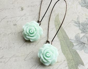 Mint Rose Earrings Long Dangle Earrings Romantic Country Chic Bridesmaid Gift Garden Wedding Jewelry Flower Earrings Bridal Acessories