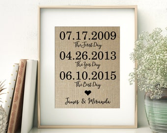 The First Day - The Yes Day - The Best Day   First Date - Engagement - Wedding Date   Anniversary Gift Wedding Gift Bridal Shower Gift