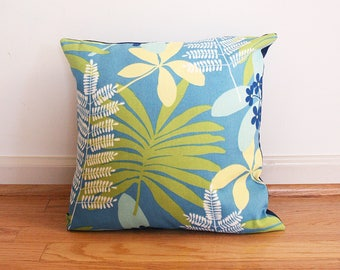 "Tropical Blue Decorative Throw Pillow Cover. Flowers and leaves. 16"" x 16"" shams fit 18"" pillow."