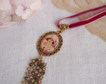 Ernestine velvet, vintage rhinestone Locket necklace