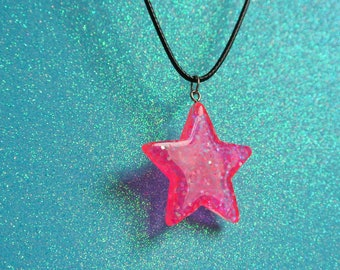 Pink Glitter Iridescent Star Necklace / Kawaii Cute Space Fairy Kei Resin Pendant Black Waxed Cord
