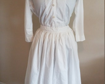 Vintage White 2 Piece Set 1950s Long Sleeve Button Down Blouse Skirt