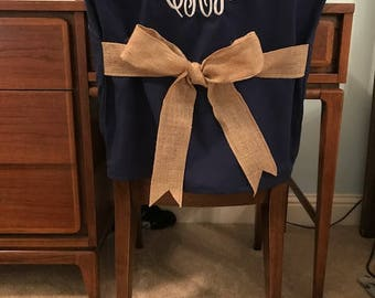Desk Chair Covers/Navy Monogrammed Dorm Chair Back Cover / Personalized chair Cover / Office Chair / Dining Chair/ One Size Fits Most