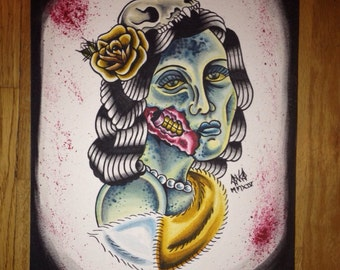 Maisie the Undead Lady Original Zombie Art
