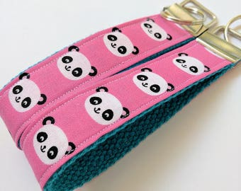 Panda Key Fob. Key Chain. Key Ring. Wristlet. Women's Key Fob. Ladies Key Fob. Gifts under 10. Ladies Key Chain. Pink Key Fob. Panda Key Fob
