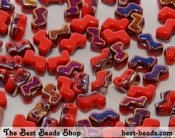 30pcs Red with Rainbow Double Hole Zorro Beads 6x5mm