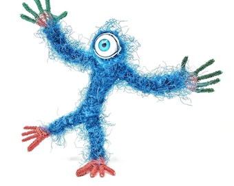 Blue Cyclops - Bendable Copper Wire Creature - fun, unique, fully poseable! Hand-made out of recycled & repurposed materials.
