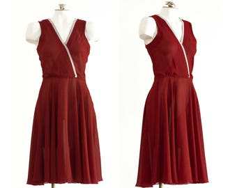 1970s burgundy sleeveless fit and flare dress with cream lace trim