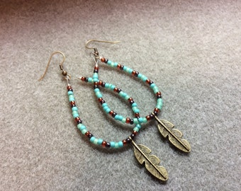 Earrings Southwest Boho Turquoise Copper Hematite Seed Beads Antique Bronze Feather  CL1619