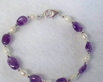 """Amethyst and Pearl with Sterling Silver Bracelet - 7 1/2"""" Made in Vt."""