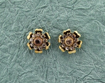 Magnetic Swarovski Crystal Flower Earrings in Solid Polished Brass