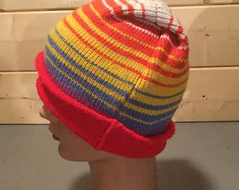 Vintage 1980's Rainbow Ski Beanie Hat