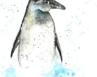 Penguin - watercolour - original art - gift - A4