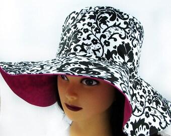"Big Brim Ladies Sun Hat - Black and White Summer Hat - Sun Hat for Women - 23"" Hat - Made in Maine"