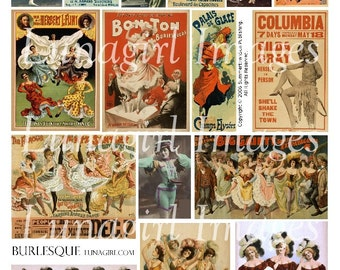 BURLESQUE digital collage sheet, Victorian theater SHOWGIRLS cabaret posters dancers can can girls vintage images pictures ephemera DOWNLOAD