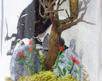 Creepy Miniatures - Miniature Cemetery in Jar - Glass Jar on Pedestal - Gothic Cemetery Diorama - Dark Home Decor