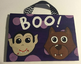 Halloween Wooden Hand Painted Acrylic Sign with Adorable Vampire and Werewolf.