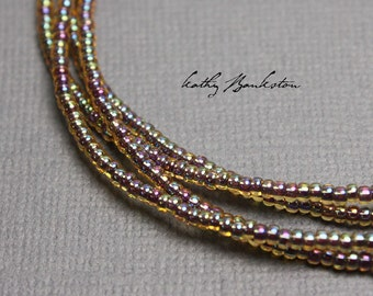 Purple Gold Seed Bead Necklace, Gold Purple Seed Bead Necklace, Purple Layering Necklaces, Long Purple Necklaces, Tiny Purple Necklaces