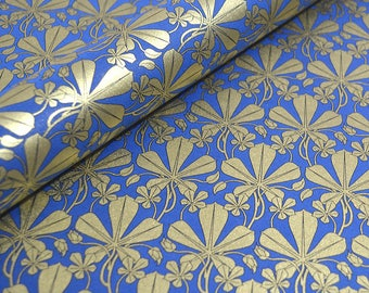 Italian Decorative Wrapping Paper, Gift Wrap, Craft Paper - Liberty Leaves in Blue