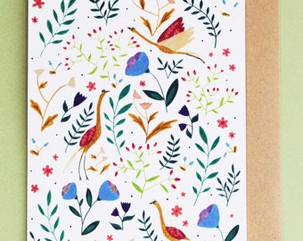 Flowers and birds | Greeting card