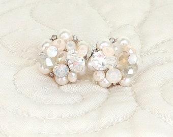Blush Wedding Studs- Art Deco Studs- Soft Pink Earrings- Pearl Cluster Earring- Blush Bridal Earrings- Vintage Inspired Studs- Clip Earrings