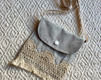 Toddlers Gray Crossbody Boho Purse/Vegan Boho Bag /Vintage Toddler Purse / Small Pouch Coin Purse / Childs Gift Purse