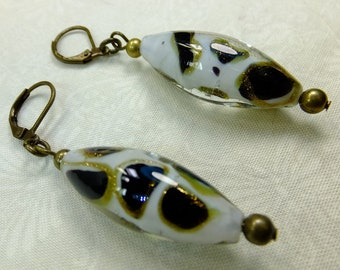 Lampglass White, Black and Golden Leopard Spot African Animal Print Beads Dangle Earrings with Antique Copper Lever Backs