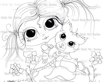 INSTANT DOWNLOAD Digital Digi Stamps Big Eye Big Head Dolls Digi My Kitty Bestie Img491-2 By Sherri Baldy