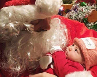 Baby Christmas hat, Santa's Baby, Knit Baby Hat, Preemie hat, Free monogrammed name, Preemie/18 Months